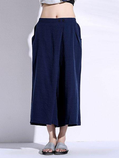 Navy Blue Nylon Simple Wide Leg Pants