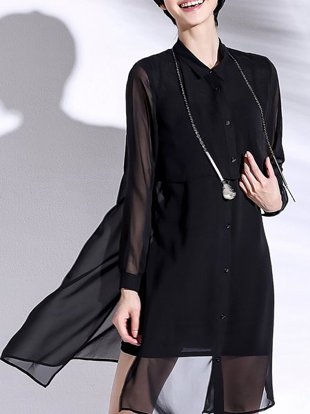 Black Simple H-line Stand Collar Tunic