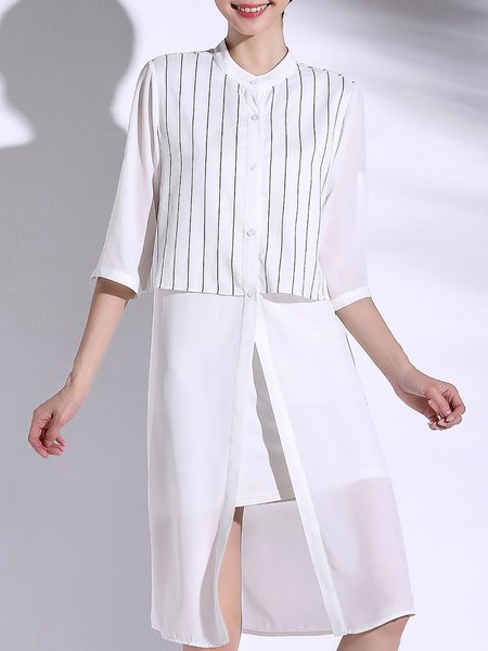 Paneled Half Sleeve Simple Shirt Collar Stripes Tunic