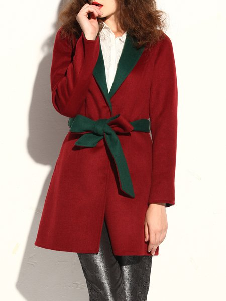 Simple Long Sleeve Lapel Wool Blend A-line Coat