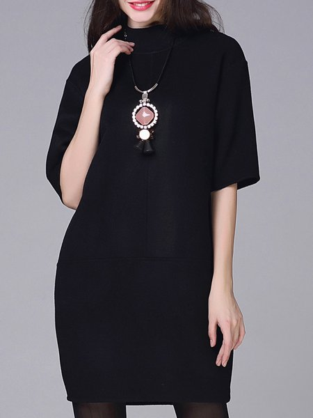 Black Stand Collar Half Sleeve Wool Mini Dress