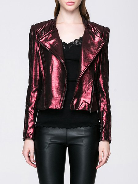 Wine Red Plain Zipper Lapel Casual Biker Jacket