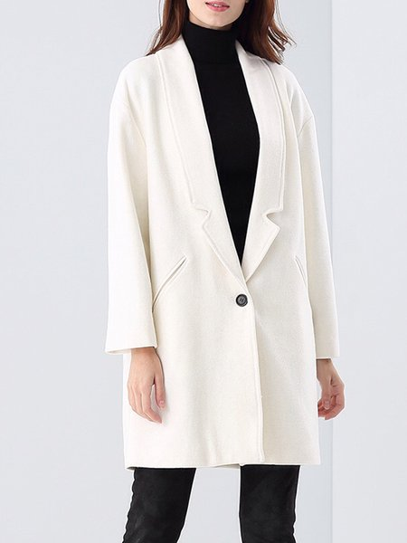 White Simple Pockets Coat