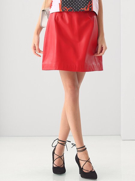 Red A-line Plain Simple Zipper Mini Skirt