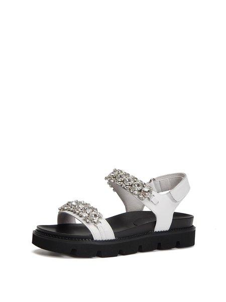 White Leather Magic Tape Platform Summer Sandals