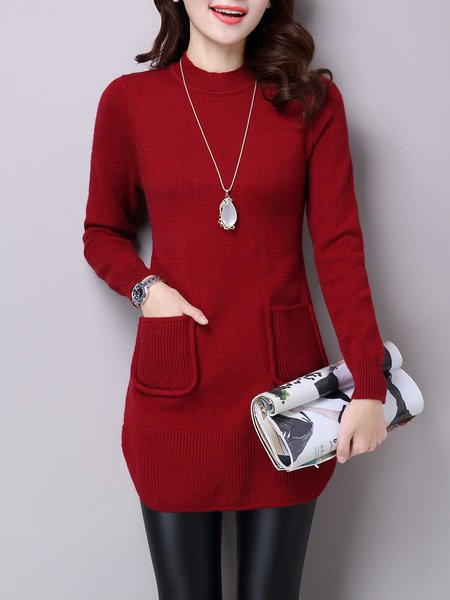 Long Sleeve Solid Asymmetrical Wool Blend Sweater