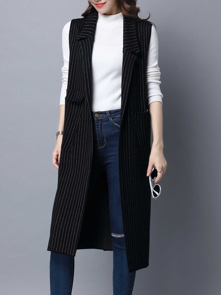 Black Pockets Wool Blend Sleeveless Stripes Vests And Gilet