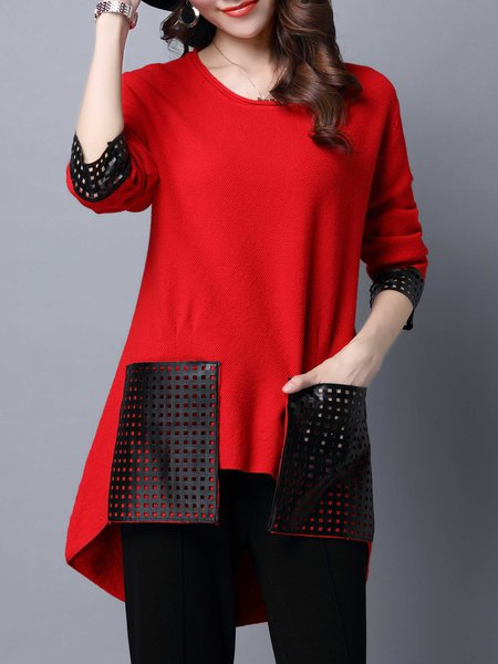 Casual Crew Neck Long Sleeve Pierced Wool blend Knitted Tunic