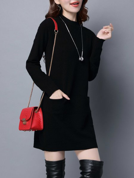 Casual A-line Wool Blend Long Sleeve Knitted Sweater Dress
