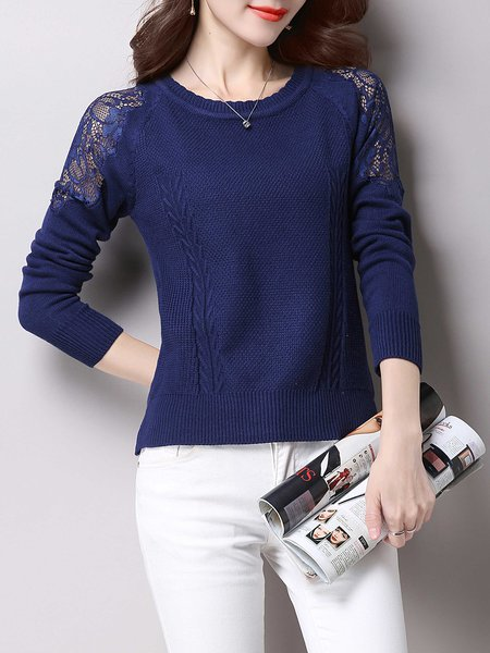 Wool Blend Casual Crew Neck Long Sleeve Lace Paneled Sweater