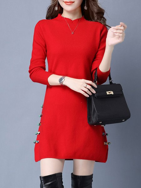 Red Solid Long Sleeve Wool Blend Sweater Dress