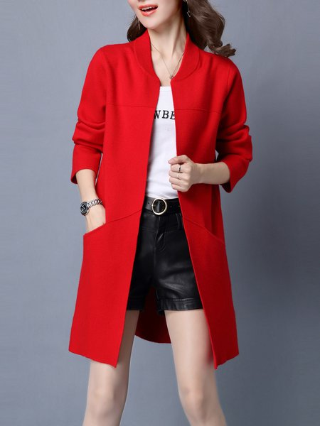 Long Sleeve Casual Knitted H-line Solid Wool blend Cardigan