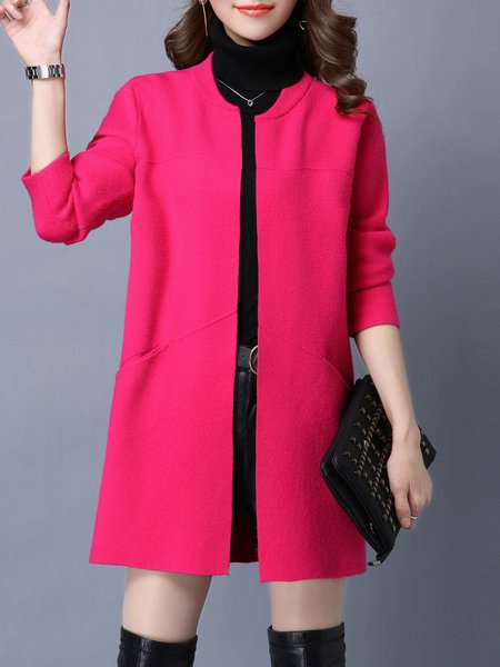 Rose Knitted Solid Casual Wool blend Cardigan