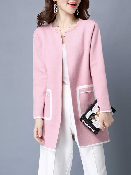Wool Blend Elegant Color-block Cardigan