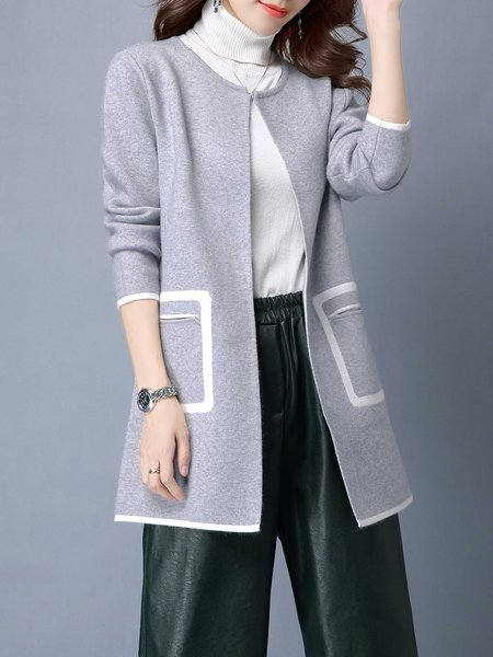 Casual H-line Wool Blend Color-block Cardigan