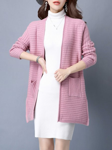 Pink Solid Long Sleeve Wool Blend H-line Cardigan