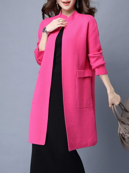 Casual Long Sleeve H-line Solid Wool blend Cardigan