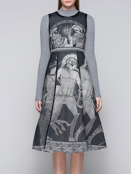 Gray Sleeveless Abstract Vintage Printed Midi Dress