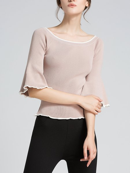 Knitted Bell Sleeve Solid Sweater
