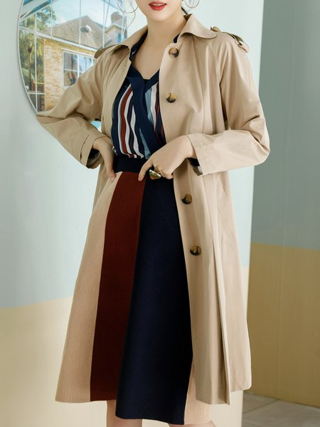 Casual Shirt Collar A-line Buttoned Trench Coat with Belt
