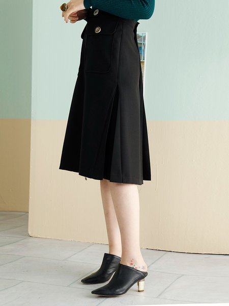 Black Folds Zipper Casual A-line Midi Skirt - StyleWe.com