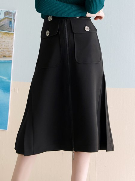 black folds zipper casual a line midi skirt stylewe
