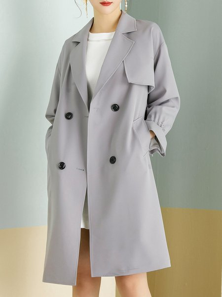 Frill Sleeve Buttoned Casual Trench Coat with Belt