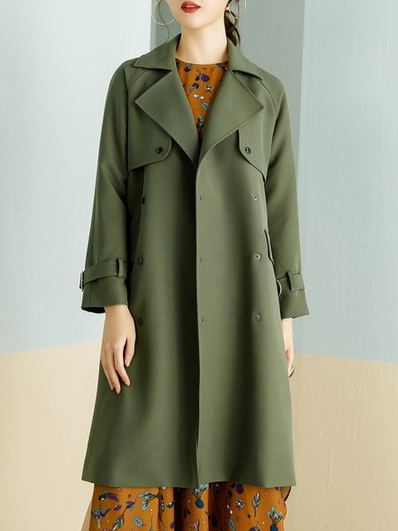 H-line Pockets Solid Long Sleeve Trench Coat with Belt