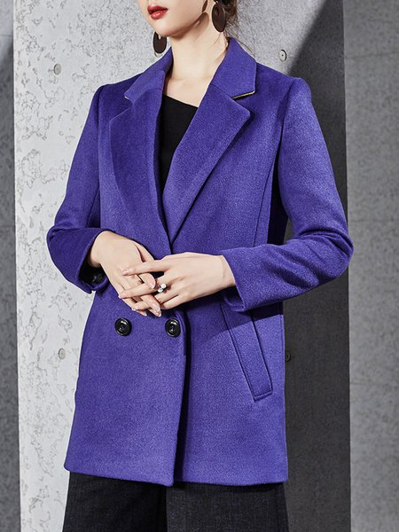 Violet Lapel Elegant Wool Blend H-line Coat