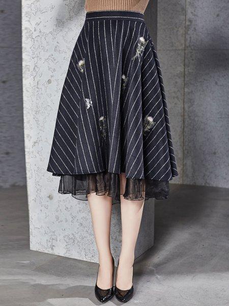 Navy Blue A-line Elegant Embroidered Wool blend Midi Skirt