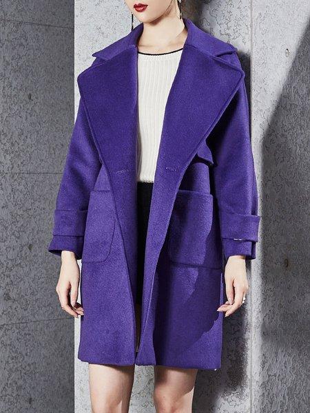 Purple Wool Blend Solid Long Sleeve Coat