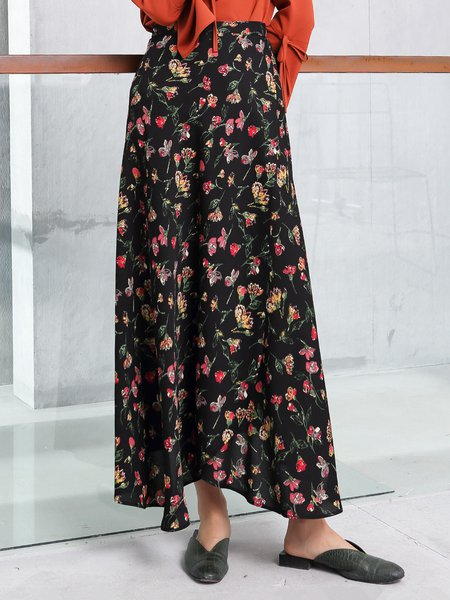 Multicolor Floral Casual Maxi Skirt With Belt