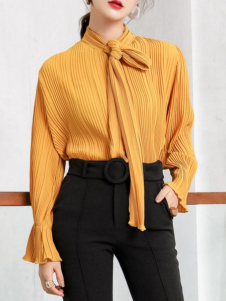 Chiffon Frill Sleeve Elegant Pleated Solid Blouse