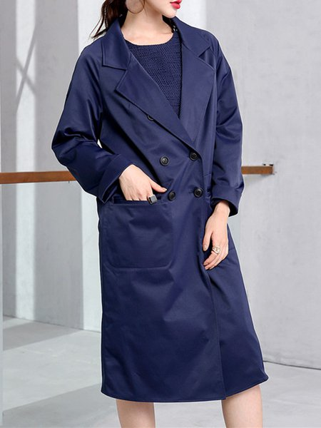 Navy Blue Solid Buttoned Casual Trench Coat