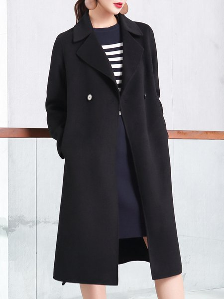 Black Solid Long Sleeve Wool Blend Lapel Coat With Belt