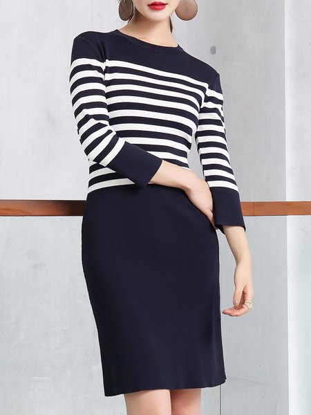 Stripes Bodycon Long Sleeve Cotton-blend Casual Knitted Midi Dress