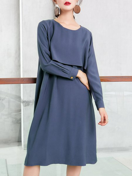 Solid Casual Long Sleeve Shift Crew Neck Midi Dress With Belt