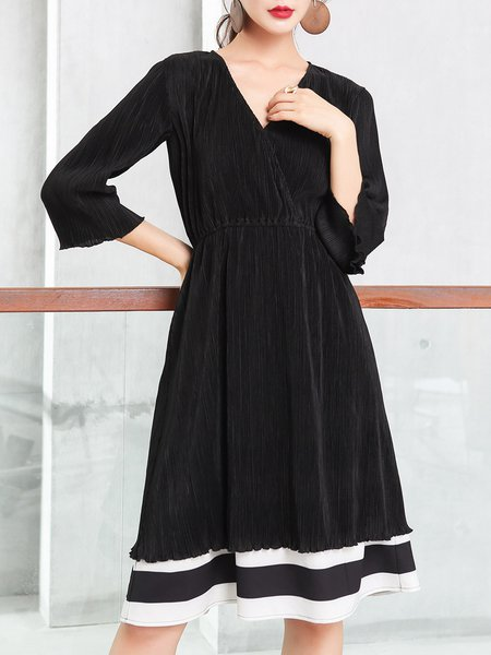 Black A-line Stripes Paneled Surplice Neck Elegant Midi Dress