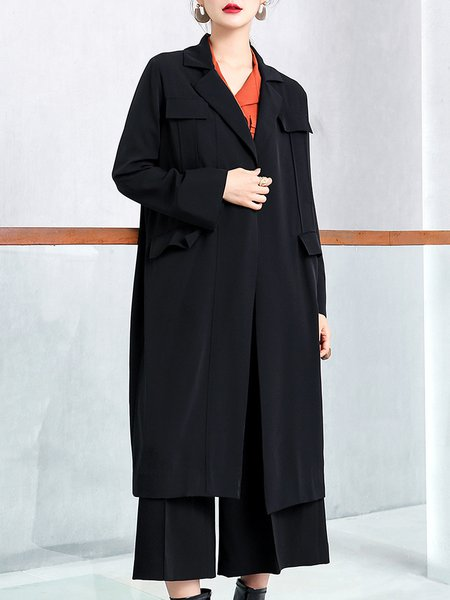 Black Long Sleeve Lapel Solid Shift Coat With Belt