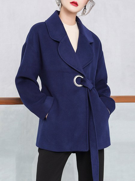 Navy Blue Elegant Lapel Solid Coat With Belt