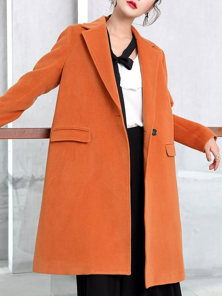 Lapel Long Sleeve Elegant H-line Coat