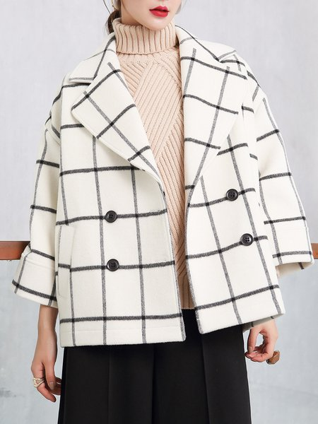 Beige Checkered/Plaid Long Sleeve Pockets Lapel Coat