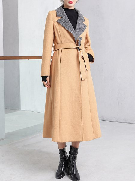 Khaki Elegant Lapel Plain Blend Coat With Belt