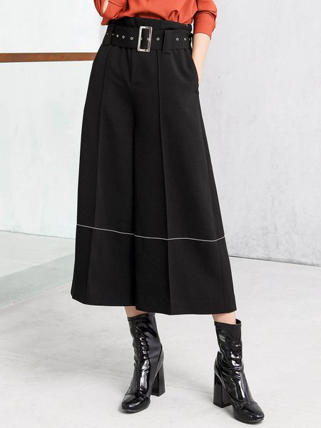 Black Simple Solid Piping Wide Leg Pants With Belt