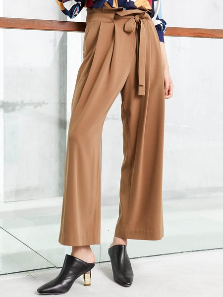 Khaki Solid Folds Elegant Wide Leg Pants With Belt
