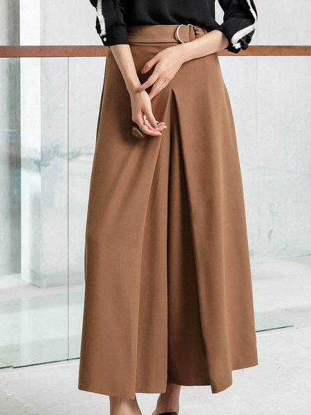 Khaki Simple Solid Wide Leg Pants With Belt