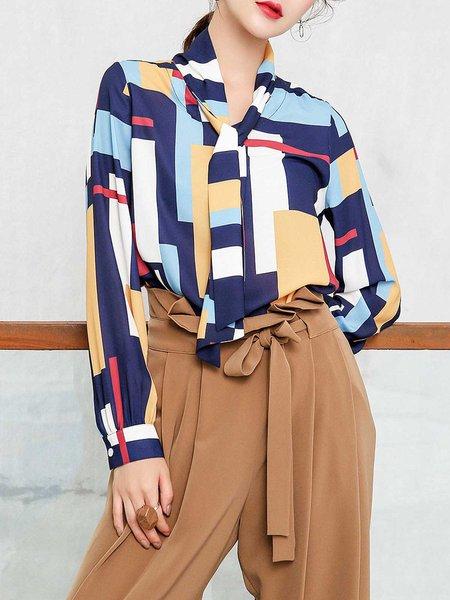 Multicolor Geometric Chiffon Elegant Blouse