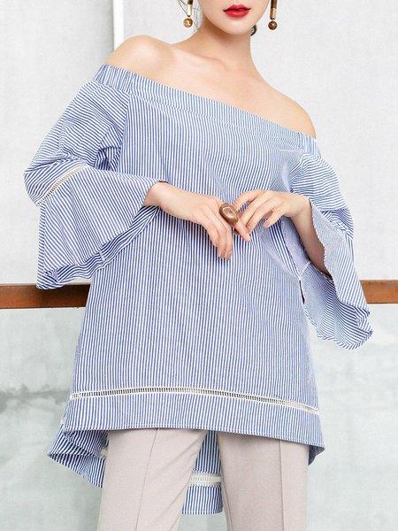 Girly Blue Stripes Asymmetrical Frill Sleeve Blouse