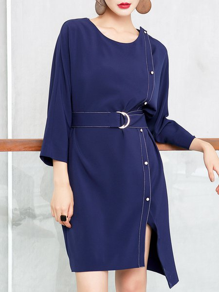 Asymmetrical Elegant Binding Long Sleeve Midi Dress With Belt