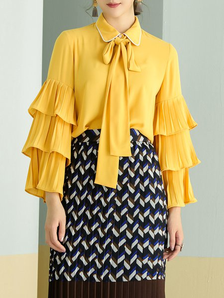 Girly Pleated Frill Sleeve Solid Blouse